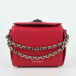 Box Chain Womens Hot Pink Leather Cross Body Bag
